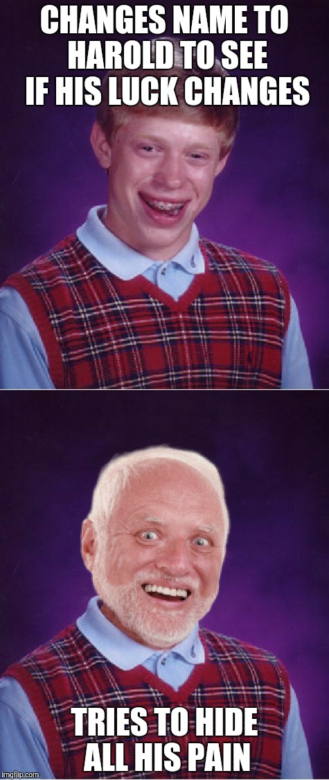 CHANGES NAME TO HAROLD TO SEE IF HIS LUCK CHANGES; TRIES TO HIDE ALL HIS PAIN | image tagged in hide the pain harold,bad luck brian,bad luck harold,memes,other | made w/ Imgflip meme maker