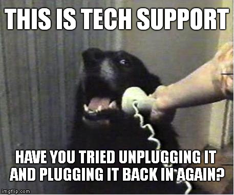 This Is Tech Support | THIS IS TECH SUPPORT HAVE YOU TRIED UNPLUGGING IT AND PLUGGING IT BACK IN AGAIN? | image tagged in this is dog,tech support,unplug,meme,funny | made w/ Imgflip meme maker