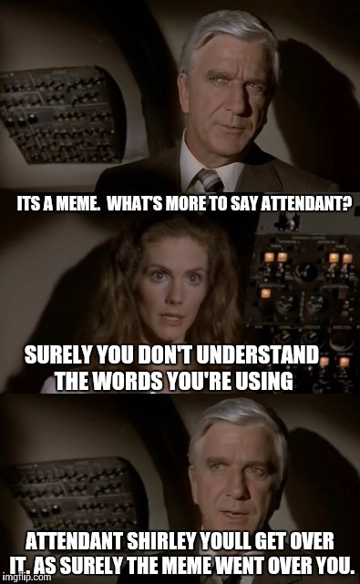 Imgflip What Is It? | ITS A MEME.  WHAT'S MORE TO SAY ATTENDANT? SURELY YOU DON'T UNDERSTAND THE WORDS YOU'RE USING ATTENDANT SHIRLEY YOULL GET OVER IT. AS SURELY | image tagged in airplane what is it | made w/ Imgflip meme maker