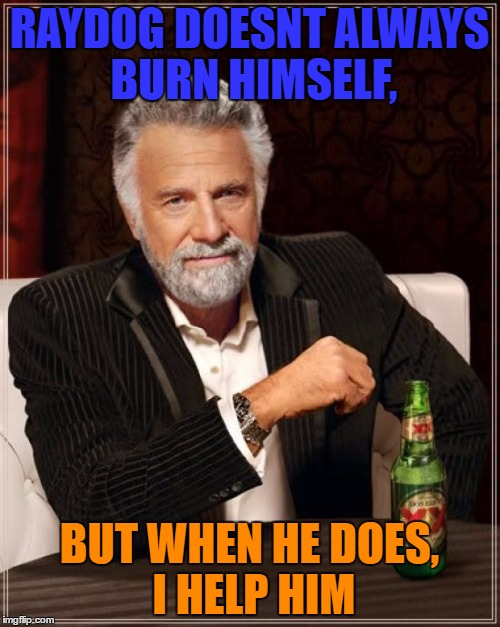 The Most Interesting Man In The World Meme | RAYDOG DOESNT ALWAYS BURN HIMSELF, BUT WHEN HE DOES, I HELP HIM | image tagged in memes,the most interesting man in the world | made w/ Imgflip meme maker