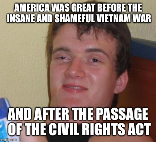 10 Guy Meme | AMERICA WAS GREAT BEFORE THE INSANE AND SHAMEFUL VIETNAM WAR AND AFTER THE PASSAGE OF THE CIVIL RIGHTS ACT | image tagged in memes,10 guy | made w/ Imgflip meme maker