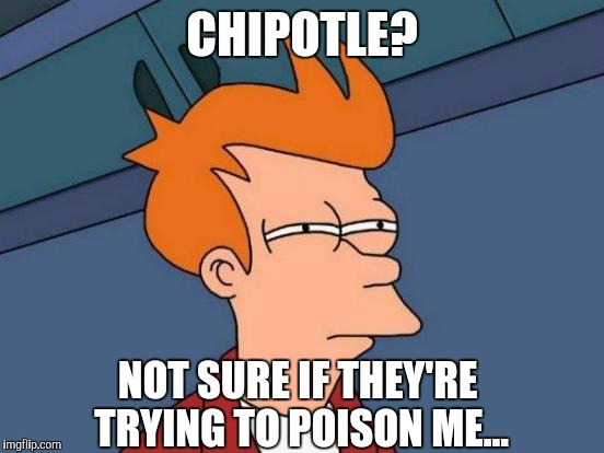 Futurama Fry Meme | CHIPOTLE? NOT SURE IF THEY'RE TRYING TO POISON ME... | image tagged in memes,futurama fry,chipotle | made w/ Imgflip meme maker