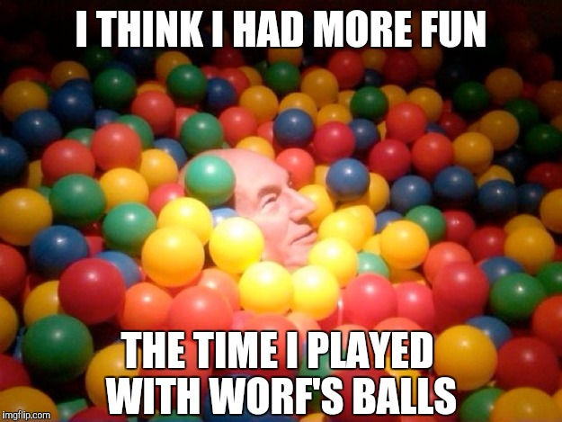 I THINK I HAD MORE FUN THE TIME I PLAYED WITH WORF'S BALLS | image tagged in star trek,picard | made w/ Imgflip meme maker