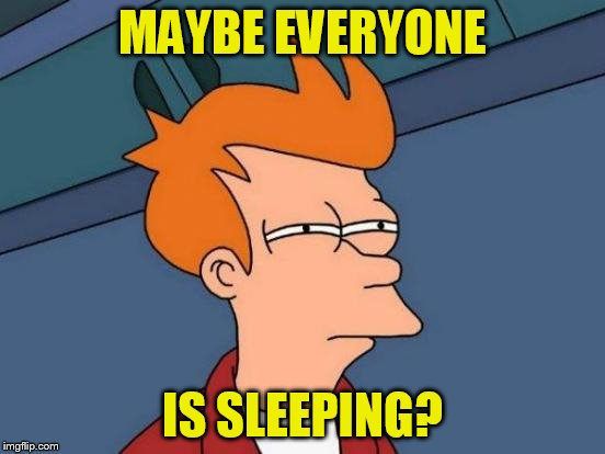 Futurama Fry Meme | MAYBE EVERYONE IS SLEEPING? | image tagged in memes,futurama fry | made w/ Imgflip meme maker