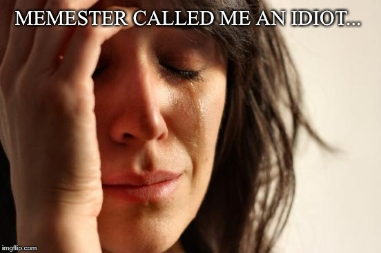 First World Problems Meme | MEMESTER CALLED ME AN IDIOT... | image tagged in memes,first world problems | made w/ Imgflip meme maker