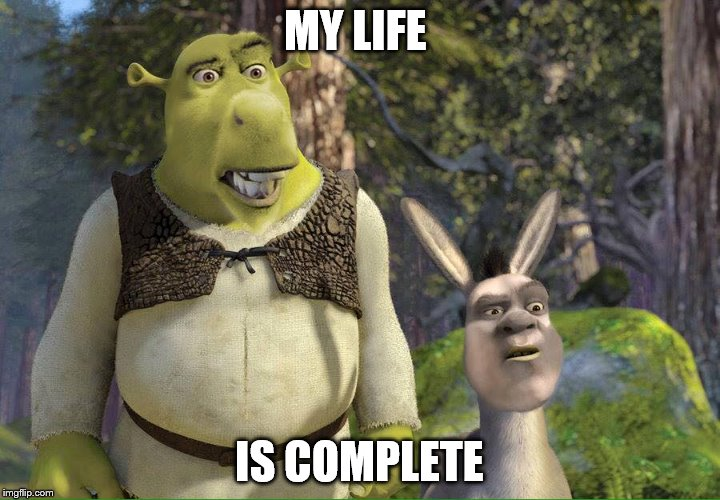 Drek and Shronkey | MY LIFE IS COMPLETE | image tagged in shrek is love,shrek is life,funny memes,donkey,suicide,jay inbetweeners completed it | made w/ Imgflip meme maker