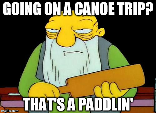 That's a paddlin' |  GOING ON A CANOE TRIP? THAT'S A PADDLIN' | image tagged in memes,that's a paddlin' | made w/ Imgflip meme maker