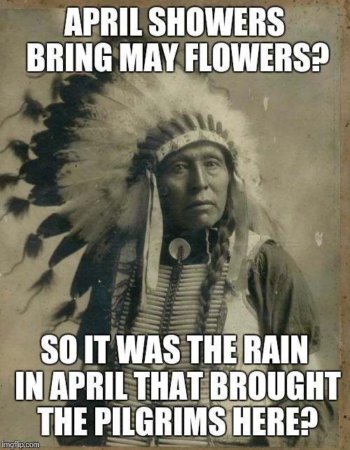 Geronimo says your argument is invalid.  |  APRIL SHOWERS BRING MAY FLOWERS? SO IT WAS THE RAIN IN APRIL THAT BROUGHT THE PILGRIMS HERE? | image tagged in indian illegal immigration | made w/ Imgflip meme maker