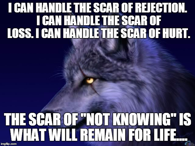 "I CAN HANDLE THE SCAR OF REJECTION. I CAN HANDLE THE SCAR OF LOSS. I CAN HANDLE THE SCAR OF HURT. THE SCAR OF ""NOT KNOWING"" IS WHAT WILL REM 