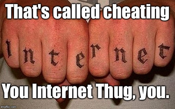 Internet Thug | That's called cheating You Internet Thug, you. | image tagged in internet thug | made w/ Imgflip meme maker