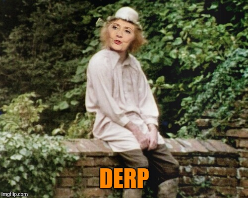 They say every village has an idiot.  What does it day about a country where some citizens want to elect an immoral one? | DERP | image tagged in hillary clinton,criminal | made w/ Imgflip meme maker