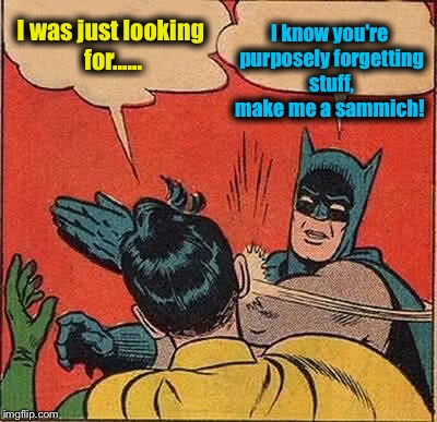 Batman Slapping Robin Meme | I was just looking for...... I know you're purposely forgetting stuff, make me a sammich! | image tagged in memes,batman slapping robin | made w/ Imgflip meme maker