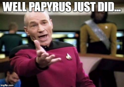 Picard Wtf Meme | WELL PAPYRUS JUST DID... | image tagged in memes,picard wtf | made w/ Imgflip meme maker