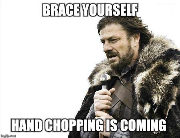 Brace Yourselves X is Coming Meme | BRACE YOURSELF HAND CHOPPING IS COMING | image tagged in memes,brace yourselves x is coming | made w/ Imgflip meme maker