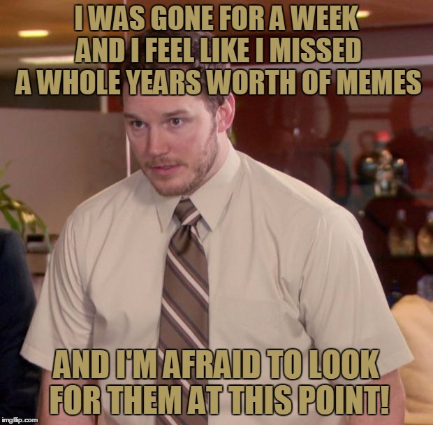 I Probably Missed Some Awesome Memes When I Was Away From The Site, So Please Spam As Much As You Like In This Meme! | I WAS GONE FOR A WEEK AND I FEEL LIKE I MISSED A WHOLE YEARS WORTH OF MEMES AND I'M AFRAID TO LOOK FOR THEM AT THIS POINT! | image tagged in memes,afraid to ask andy,funny,front page,spam,just do it | made w/ Imgflip meme maker