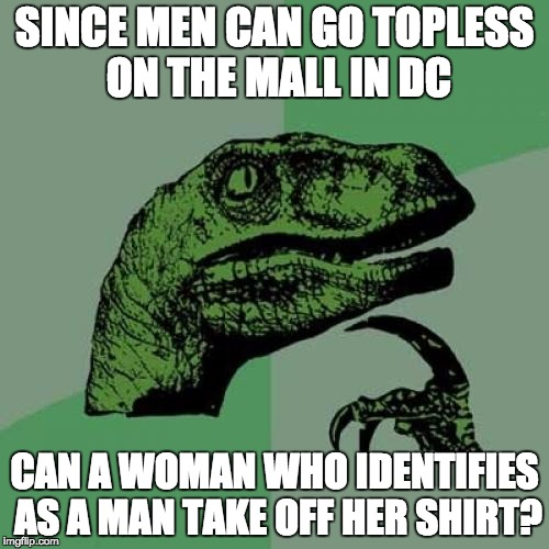 Philosoraptor Meme | SINCE MEN CAN GO TOPLESS ON THE MALL IN DC CAN A WOMAN WHO IDENTIFIES AS A MAN TAKE OFF HER SHIRT? | image tagged in memes,philosoraptor | made w/ Imgflip meme maker