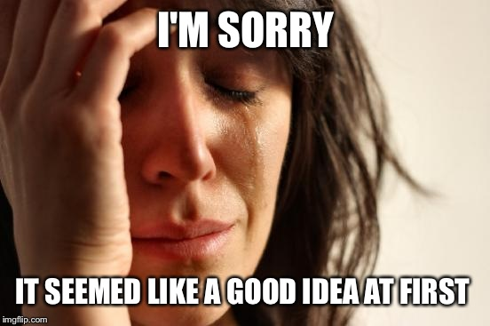 First World Problems Meme | I'M SORRY IT SEEMED LIKE A GOOD IDEA AT FIRST | image tagged in memes,first world problems | made w/ Imgflip meme maker