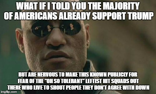 "Matrix Morpheus Meme | WHAT IF I TOLD YOU THE MAJORITY OF AMERICANS ALREADY SUPPORT TRUMP BUT ARE NERVOUS TO MAKE THIS KNOWN PUBLICLY FOR FEAR OF THE ""OH SO TOLERA 