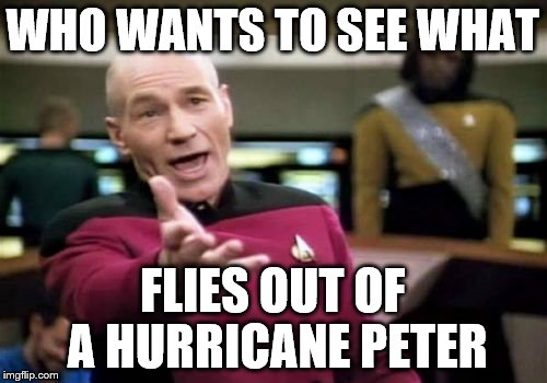 Picard Wtf Meme | WHO WANTS TO SEE WHAT FLIES OUT OF A HURRICANE PETER | image tagged in memes,picard wtf | made w/ Imgflip meme maker