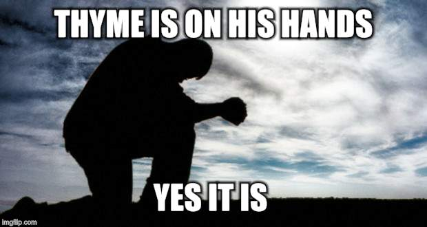 THYME IS ON HIS HANDS YES IT IS | made w/ Imgflip meme maker