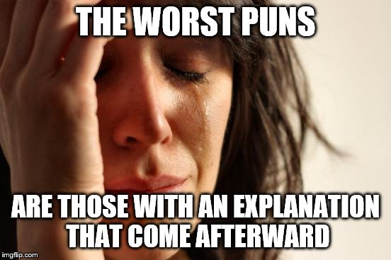 First World Problems Meme | THE WORST PUNS ARE THOSE WITH AN EXPLANATION THAT COME AFTERWARD | image tagged in memes,first world problems | made w/ Imgflip meme maker