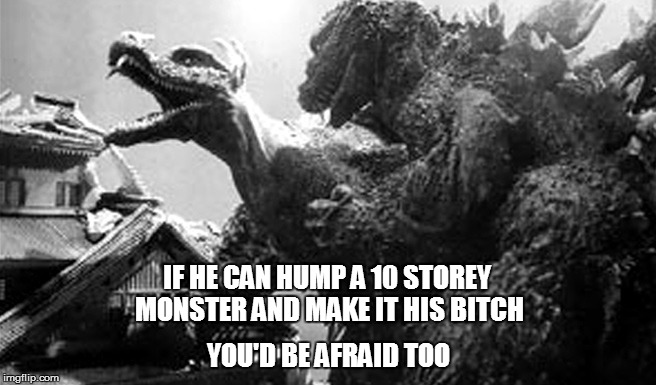 IF HE CAN HUMP A 10 STOREY MONSTER AND MAKE IT HIS B**CH YOU'D BE AFRAID TOO | made w/ Imgflip meme maker