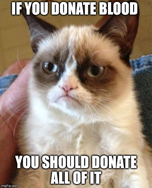 Grumpy Cat Meme | IF YOU DONATE BLOOD YOU SHOULD DONATE ALL OF IT | image tagged in memes,grumpy cat | made w/ Imgflip meme maker