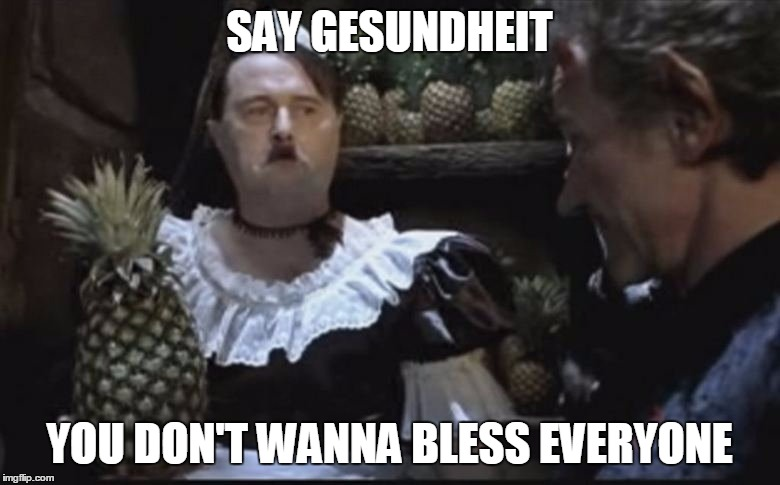 Hitler Pineapple | SAY GESUNDHEIT YOU DON'T WANNA BLESS EVERYONE | image tagged in hitler pineapple | made w/ Imgflip meme maker