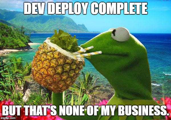 vacation kermit | DEV DEPLOY COMPLETE BUT THAT'S NONE OF MY BUSINESS. | image tagged in vacation kermit | made w/ Imgflip meme maker