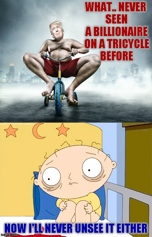 Peddle like there's no tomorrow! | WHAT.. NEVER SEEN A BILLIONAIRE ON A TRICYCLE BEFORE NOW I'LL NEVER UNSEE IT EITHER | image tagged in donald trump derp,stewie straight jacket,crazy,funny memes | made w/ Imgflip meme maker