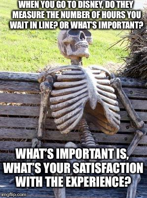 Waiting Skeleton Meme |  WHEN YOU GO TO DISNEY, DO THEY MEASURE THE NUMBER OF HOURS YOU WAIT IN LINE? OR WHAT'S IMPORTANT? WHAT'S IMPORTANT IS, WHAT'S YOUR SATISFACTION WITH THE EXPERIENCE? | image tagged in memes,waiting skeleton | made w/ Imgflip meme maker