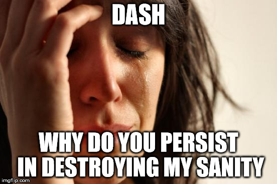 First World Problems Meme | DASH WHY DO YOU PERSIST IN DESTROYING MY SANITY | image tagged in memes,first world problems | made w/ Imgflip meme maker