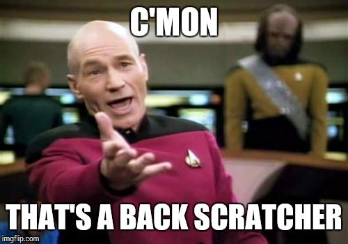 Picard Wtf Meme | C'MON THAT'S A BACK SCRATCHER | image tagged in memes,picard wtf | made w/ Imgflip meme maker