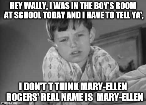Gosh Beav thanks! I'll dump her off on Eddie tomorrow.  | HEY WALLY, I WAS IN THE BOY'S ROOM AT SCHOOL TODAY AND I HAVE TO TELL YA', I DON'T T THINK MARY-ELLEN  ROGERS' REAL NAME IS  MARY-ELLEN | image tagged in memes,leave it to beaver,chokin in the boys room | made w/ Imgflip meme maker
