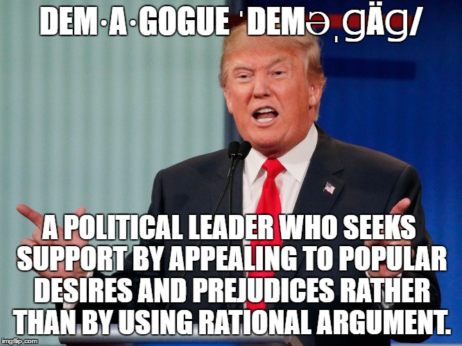 Donald Drumpf |  DEM·A·GOGUE ˈDEMƏˌꞬÄꞬ/; A POLITICAL LEADER WHO SEEKS SUPPORT BY APPEALING TO POPULAR DESIRES AND PREJUDICES RATHER THAN BY USING RATIONAL ARGUMENT. | image tagged in demagogue drumpf,demagogue,donald trump,election 2016,make donald drumpf again | made w/ Imgflip meme maker