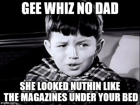 GEE WHIZ NO DAD SHE LOOKED NUTHIN LIKE THE MAGAZINES UNDER YOUR BED | made w/ Imgflip meme maker