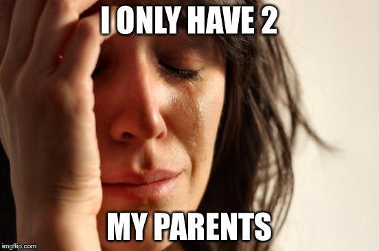 First World Problems Meme | I ONLY HAVE 2 MY PARENTS | image tagged in memes,first world problems | made w/ Imgflip meme maker