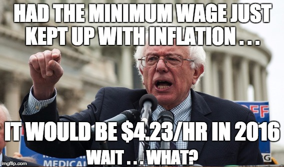 "Minimum wage started at 25 cents/hr in 1938. Liberals should Google ""inflation calculator"" to verify the numbers. 