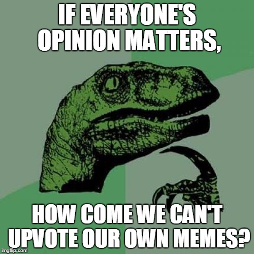 I agree that I'm funny. | IF EVERYONE'S OPINION MATTERS, HOW COME WE CAN'T UPVOTE OUR OWN MEMES? | image tagged in memes,philosoraptor,upvotes,views,funny,funny memes | made w/ Imgflip meme maker