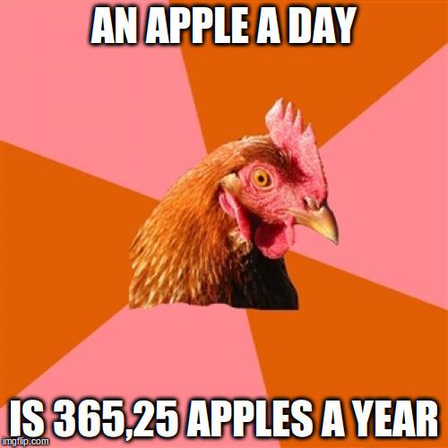 14tgs8 anti joke chicken meme imgflip,An Apple A Day Meme