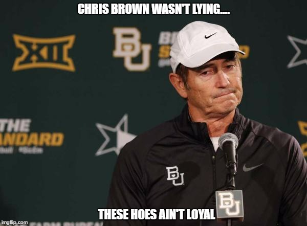 CHRIS BROWN WASN'T LYING.... THESE HOES AIN'T LOYAL | image tagged in baylor,hoes,loyal,bears | made w/ Imgflip meme maker