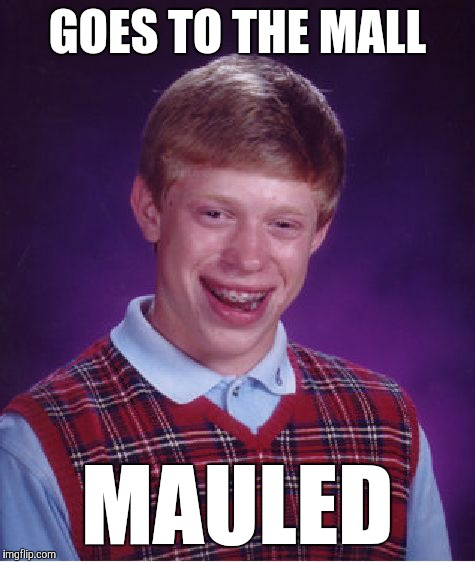 I'm a bad person | GOES TO THE MALL MAULED | image tagged in memes,bad luck brian,funny,homophonophobia,look out for the bulls,i don't think it means what you think it means | made w/ Imgflip meme maker