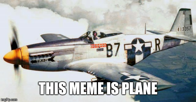 THIS MEME IS PLANE | image tagged in funny,memes,bad puns are bad,dakka dakka,p51 mustang,i'm just wingin' it | made w/ Imgflip meme maker