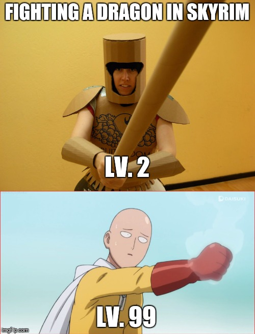 Image tagged in memes,fighting,dragon,one punch man,saitama,skyrim - Imgflip