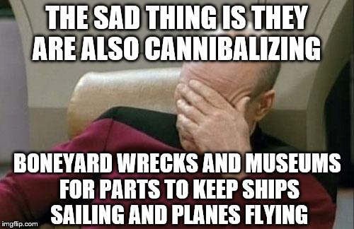 Captain Picard Facepalm Meme | THE SAD THING IS THEY ARE ALSO CANNIBALIZING BONEYARD WRECKS AND MUSEUMS FOR PARTS TO KEEP SHIPS SAILING AND PLANES FLYING | image tagged in memes,captain picard facepalm | made w/ Imgflip meme maker