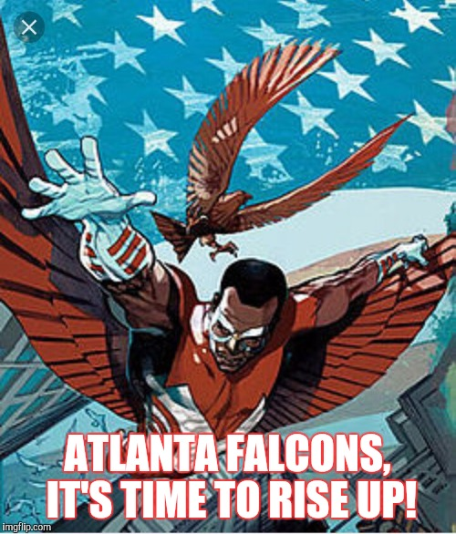 Rise Up |  ATLANTA FALCONS, IT'S TIME TO RISE UP! | image tagged in falcons | made w/ Imgflip meme maker