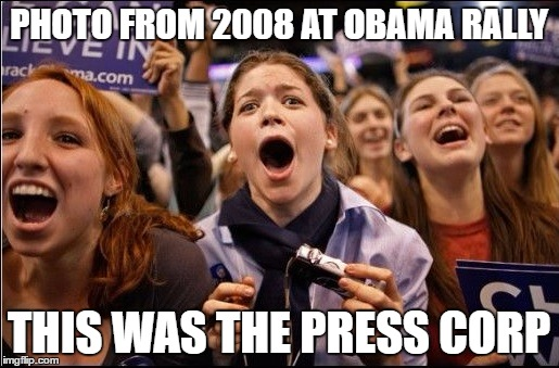 PHOTO FROM 2008 AT OBAMA RALLY THIS WAS THE PRESS CORP | made w/ Imgflip meme maker