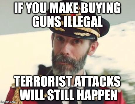 Captain Obvious | IF YOU MAKE BUYING GUNS ILLEGAL TERRORIST ATTACKS WILL STILL HAPPEN | image tagged in captain obvious | made w/ Imgflip meme maker