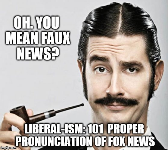 le snob | OH. YOU MEAN FAUX NEWS? LIBERAL-ISM: 101  PROPER PRONUNCIATION OF FOX NEWS | image tagged in le snob | made w/ Imgflip meme maker