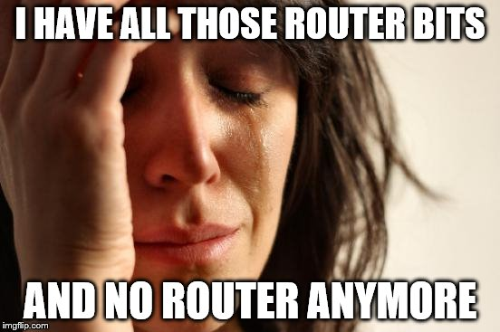 First World Problems Meme | I HAVE ALL THOSE ROUTER BITS AND NO ROUTER ANYMORE | image tagged in memes,first world problems | made w/ Imgflip meme maker